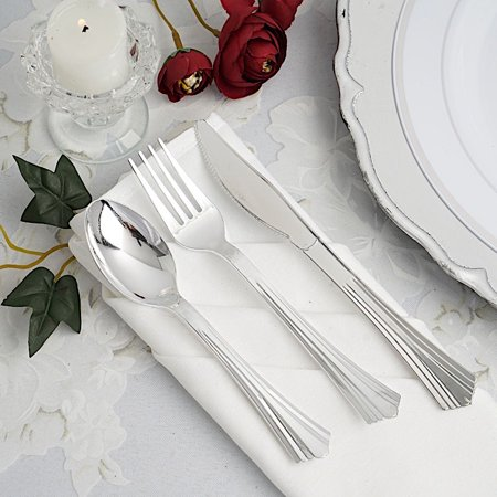 BalsaCircle 24 pcs Silver Disposable Plastic Party Set Spoons Forks Knives - Wedding Home Catering Silverware Discounted Supplies](Entertaining Supplies)