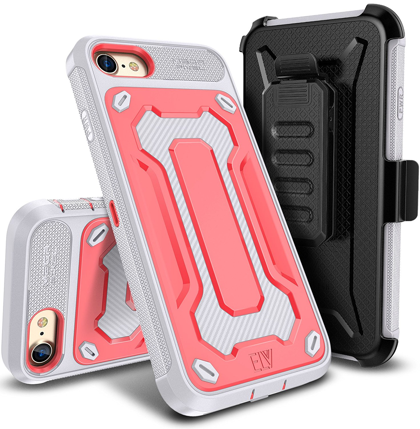 E LV iPhone 7 Case Belt Swivel Clip / Kickstand Dual Layer Armor Holster Defender Full Body Protective Case Cover for Apple iPhone 7 BLACK