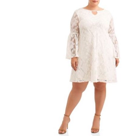 Women\'s Plus Size Bell Sleeve All Over Lace Dress