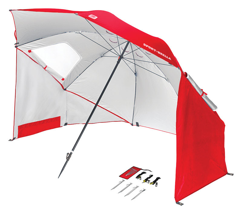 Sport-Brella Bre01-050-02 Red Umbrella Shelter 8' Diameter W  2 Zipper Windows by Outdoor Umbrellas