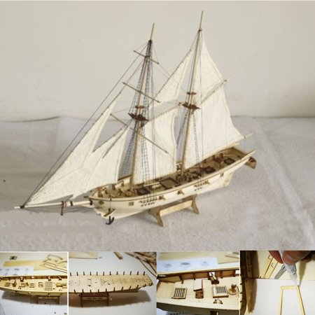 1:100 Scale Wooden Wood Sailboat Ship Kits Home Office Model Decoration Boat Toy Kids Birthday - Kids Wooden Boat