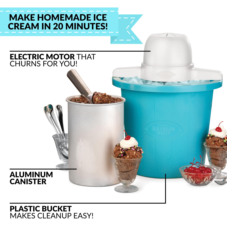Nostalgia Icmp4rd 4 Quart Electric Ice Cream Maker Walmart Com Walmart Com