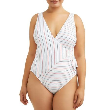 8e86066d08 No Boundaries - Juniors' Plus Campaign Stripe Wrap One Piece Swimsuit -  Walmart.com