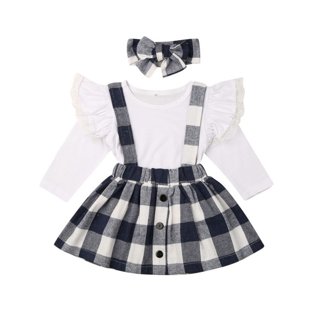 4-5T, Black+Red Toddler Baby Girl Infant Plain T Shirts+Plaid Overall Skirt Set Cotton Christmas Dress Outfits