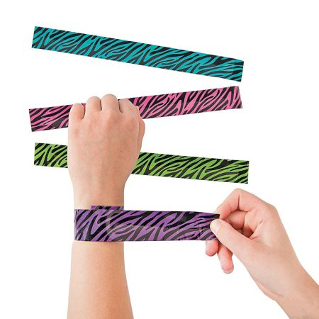Zebra Slap Bracelets 8.5 Inches - Pack Of 16 – Assorted Neon Colors Animal Print Snap Bracelet - For Kids Great Party Favors, Bag Stuffers, Fun, Gift, Prize - By Kidsco - Neon Bracelets
