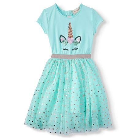 Sequin Unicorn Foil Mesh Tutu Dress (Little Girls & Big - Clown Tutu Dress