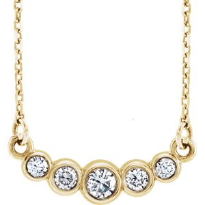 "Jewels By Lux 14K Yellow Gold Graduated Bezel Set 1/5 CTW Diamond 16-18"" Necklace"