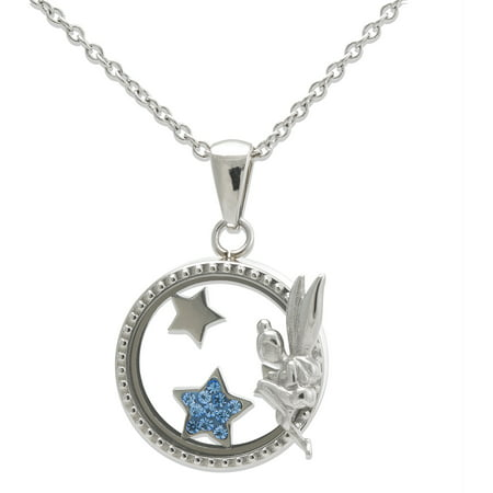 Stainless Steel Sitting Tinker Bell with Crystal Shaker Pendant, 18