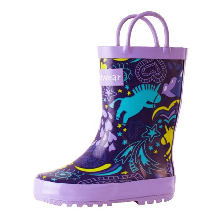Oakiwear Kids Rain Boots For Boys Girls Toddlers Children, Purple Unicorn - Sparkle Boots For Girls
