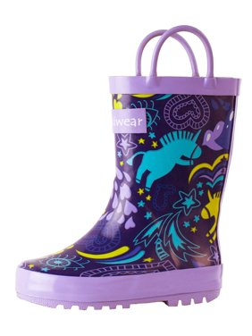 0f2620ccdfb7 Product Image Oakiwear Kids Rain Boots For Boys Girls Toddlers Children,  Purple Unicorn