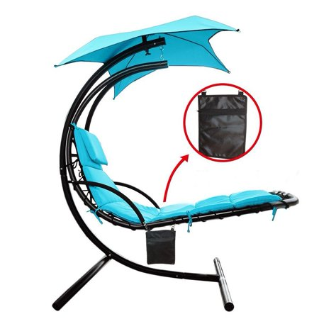 Hanging Chaise Lounger Chair with Umbrella Air Porch Floating Swing Hammock  Chair Blue - Walmart.com - Hanging Chaise Lounger Chair With Umbrella Air Porch Floating