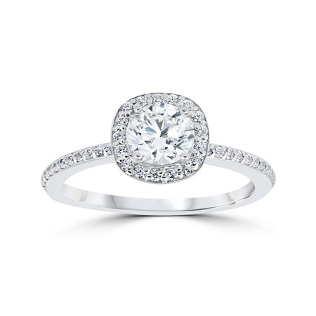 1ct Diamond Engagement Ring Cushion Halo Vintage Solitaire 14K White (Diamond Engagement Ring Vintage Setting)