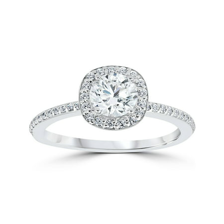 1ct Diamond Engagement Ring Cushion Halo Vintage Solitaire 14K White -