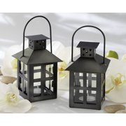 Kate Aspen Mini Decorative Candle Lanterns, Set of 6, Vintage Distressed Metal Lantern Candle Holders for Wedding Centerpiece, Home Decor and Party Favor, Black