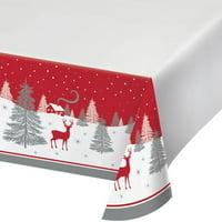 "Creative Converting Winter Wonder Plastic Tablecloth, 54"" X 102"""