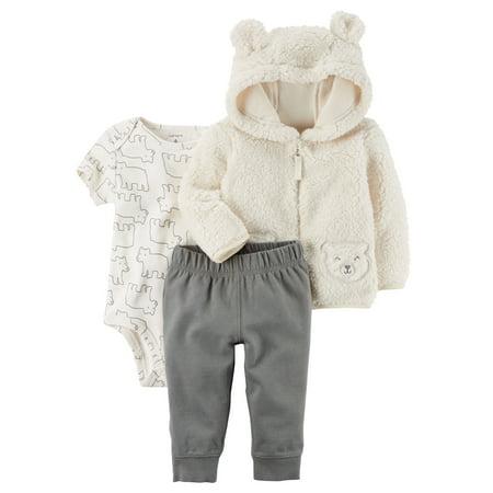 Carter's Baby Boys' 3-Piece Sherpa Jacket Set- Ivory Bear- 24 Months](Koala Bear Outfit)