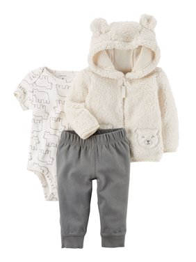 b68f1cdd8dc10 Product Image Carter's Baby Boys' 3-Piece Sherpa Jacket Set- Ivory Bear- 12  Months
