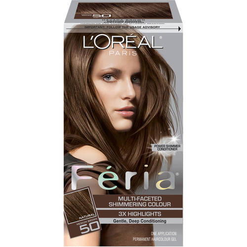 L'Oreal Paris Feria Multi-Faceted Shimmering Color, 50 Havana Brown (Medium Brown)