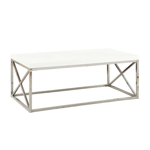 Charming Monarch Coffee Table Glossy White With Chrome Metal