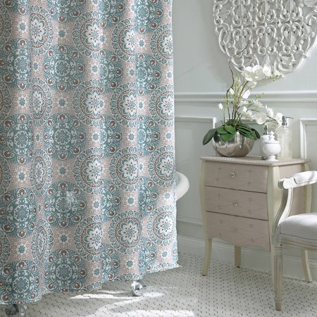 grey and turquoise shower curtain. Excell Carthe Fabric Shower Curtain  Walmart com