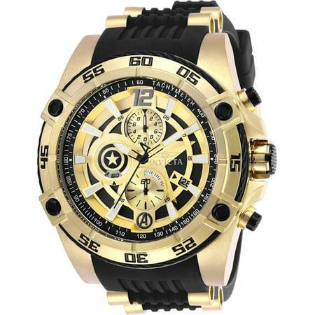 Invicta Men Marvel Quartz Chrono 100m Stainless Steel/Black Silicone Watch 26781