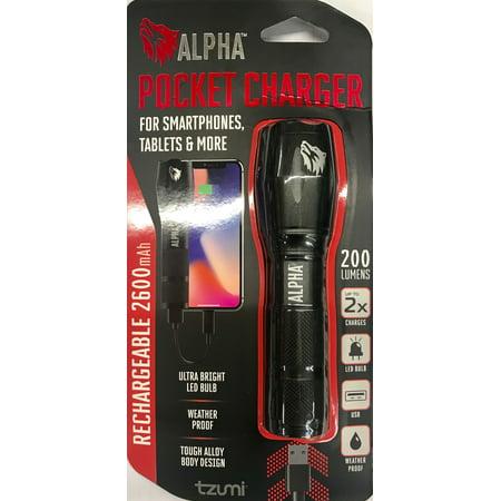 Tzumi Pocket Charger LED Power Bank, Black