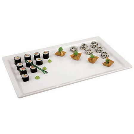 APS 44843-14 White Melamine Platter - (1/4 ) , L 10.375 x W 6.375 x H 0.5 Black Melamine Fish Platter