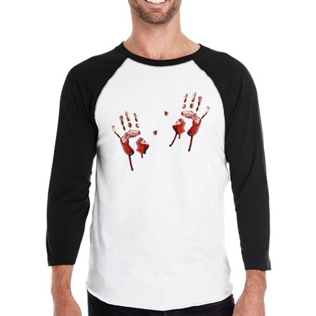 Bloody Handprints Raglan T-Shirt Mens Halloween Horror Night Shirts