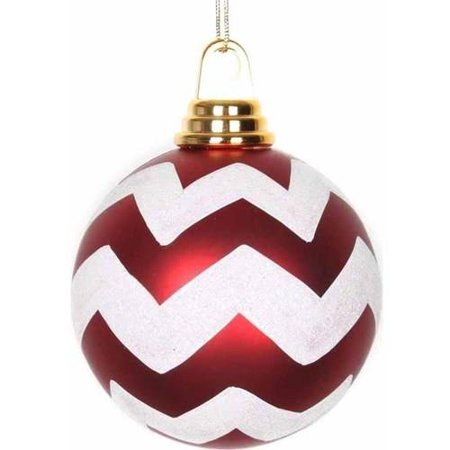 "Vickerman 4"" Matte/Glitter Chevron Ball Christmas Ornaments, Pack of 4"