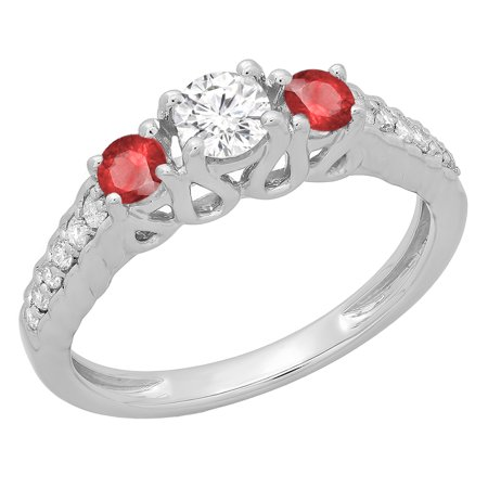 Dazzlingrock Collection 14K Round Cut Ruby & White Diamond Ladies Bridal 3 Stone Engagement Ring, White Gold, Size 7 3 Stone Ruby Diamond