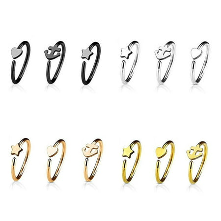 Nose Ring 20G 3-Pack Heart Anchor & Star Hoop Rings Cartilage Piercing Jewelry