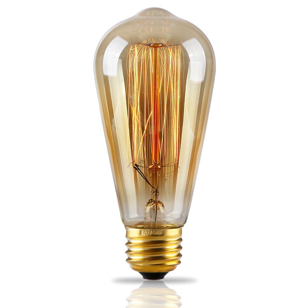 Antique Style ST64 (S21) Filament Vintage Light Bulb, Squirrel Cage Tungsten, 2500K Sunrise White, E26 Base
