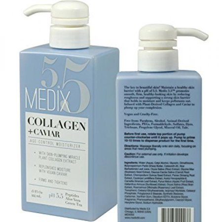 Medix 5.5 Collagen Cream with Caviar. Anti-aging Moisturizer. Firms And Tightens For Younger Looking Skin. Anti-Aging Cream Infused With Peptides, Aloe Vera, and Green Tea.