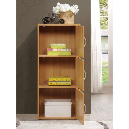 Pemberly Row 3 Shelf 3 Door Bookcase in Beech - image 1 of 5