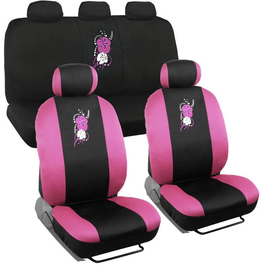 BDK Pink Hawaiian Design Car Seat Covers, 9 Piece Set