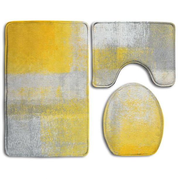 Grey Yellow Abstract Art Painting