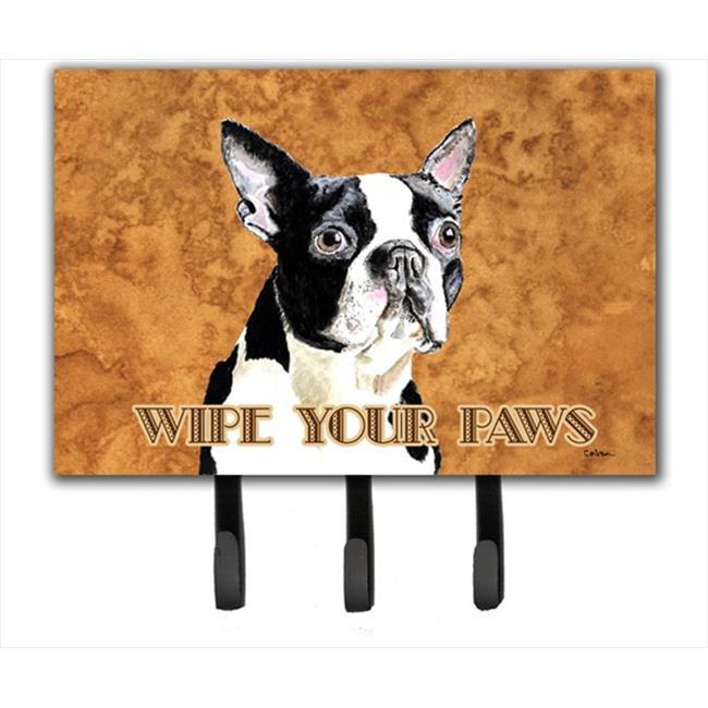 Carolines Treasures SC9140TH68 6 x 9 In. Boston Terrier Wipe your Paws Leash or Key Holder - image 1 de 1