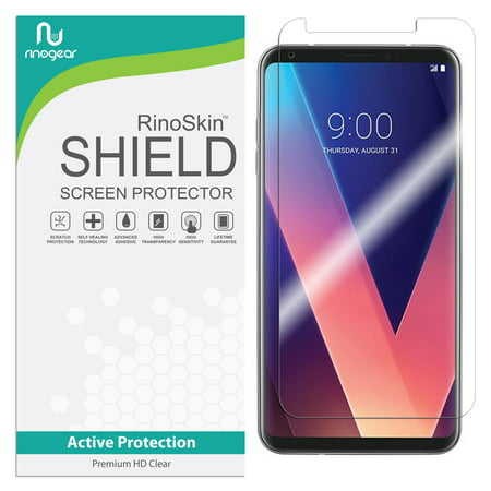 LG V30 Screen Protector (Edge-to-Edge) RinoGear Flexible HD Crystal Clear Anti-Bubble Unlimited Replacement Film ()