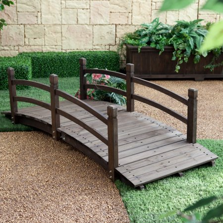 Bridge End Garden (Coral Coast Harrison 6-ft. Wood Garden Bridge - Dark Stain)