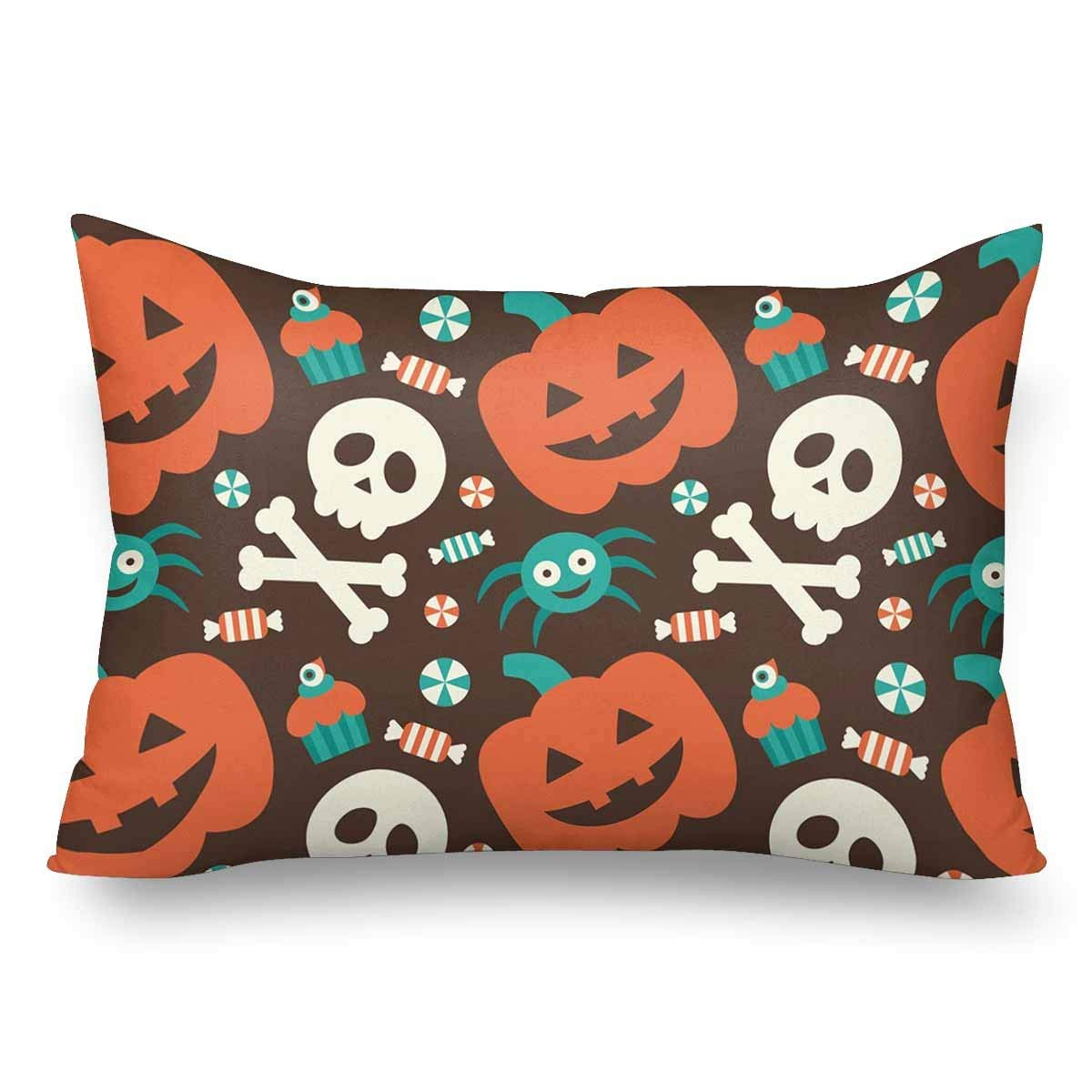 GCKG Halloween Seamless Pattern Pumpkin Skull Spider Candy Pillow Cases Pillowcase 20x30 inches - image 4 of 4