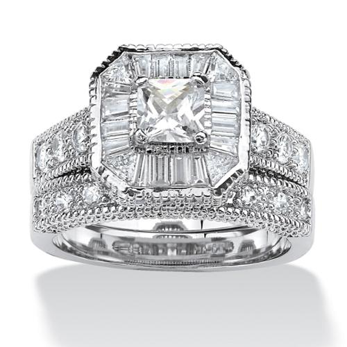 PalmBeach 2 Piece 2.31 TCW Princess-Cut Cubic Zirconia Octagon Bridal Ring Set Platinum over Sterling Silver Classic CZ Size 10