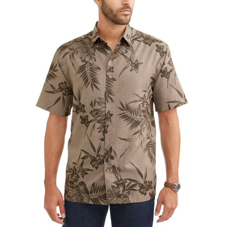 Cafe Luna Men's Short Sleeve Printed Woven Shirt