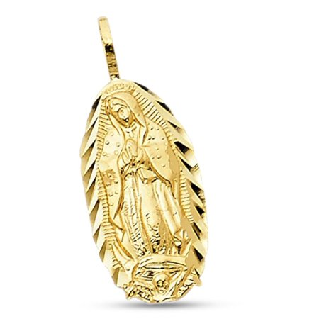 14k Yellow Gold Oval Lady Guadalupe Pendant Virgin Mary Charm Diamond Cut Solid 17 mm x 9 mm - Flower 9mm Italian Charm