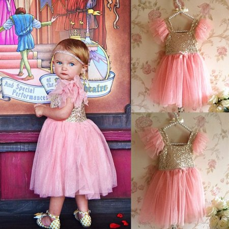 Bling Pinks Princess Baby Kids Girls Dress Party Gown Formal Fancy Dresses 2 7Y Kawaii