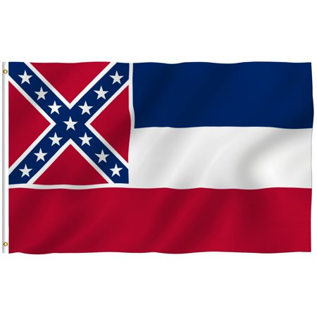 ANLEY [Fly Breeze] 3x5 Foot Mississippi State Polyester Flag - Vivid Color and UV Fade Resistant - Canvas Header and Double Stitched - Mississippi MS Flags with Brass Grommets 3 X 5 Ft ()