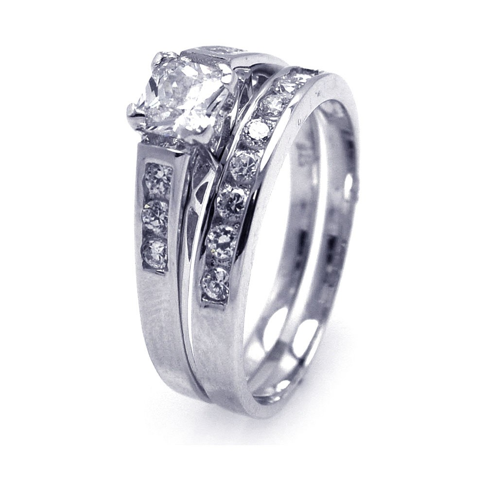 Clear Cubic Zirconia Bridal Engagement Ring Rhodium Plated Sterling Silver Size 9