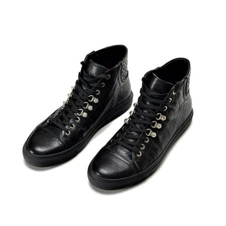 07e6b80693 Versus Versace - Versus Versace Men's Leather High Top Sneakers Shoes Black  - Walmart.com