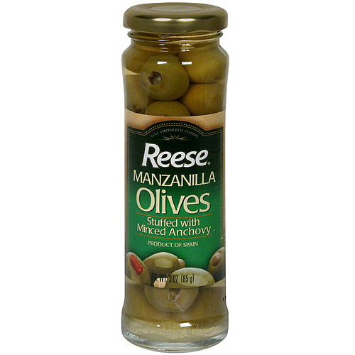 Reese Manzanilla Olives Stuffed With Minced Anchovy, 3 oz (Pack of 12)