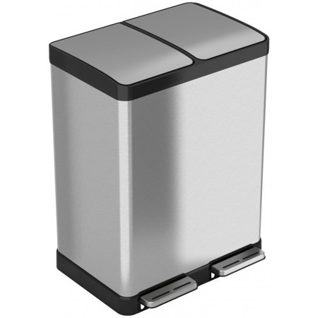 iTouchless SoftStep Stainless Steel Step Recycler Trash Can, 60 Liter / 16 Gallon (2, 8-gallon removable Inner Buckets)
