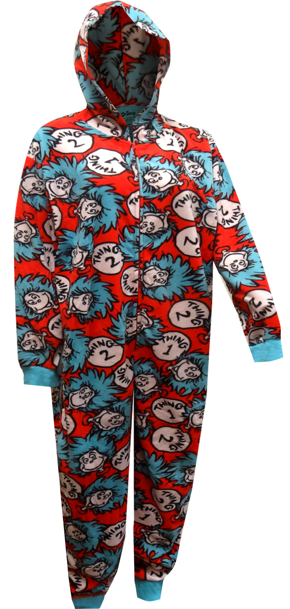MJC Mens Dr Seuss Thing One and Two Onesie Pajama